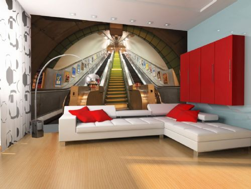 GIANT WALLPAPER WALL SUBWAY TRAIN STATION LONDON UNDERGROUND THEME DESIGN